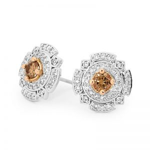 Art Deco Chocolate Diamond Earrings