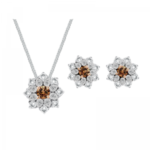 Chocolate Snowflakes Diamond Earrings and Pendants