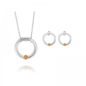 Endless Circle Chocolate Diamond Pendant and Earrings